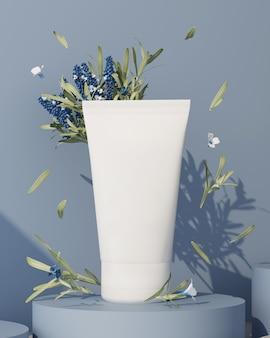 3d-weergave van cosmetisch product. room op een blauw podium met takjes rozemarijn.