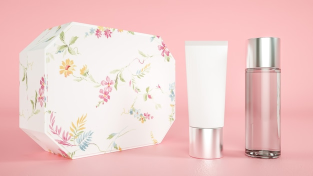 3d-weergave van cosmetische crème fles verpakking met roze achtergrond voor productvertoning