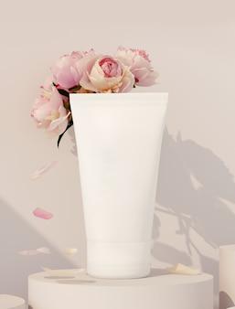 3d-weergave van cosmetische productpresentatie. crème op een beige podium met pioenrozen.