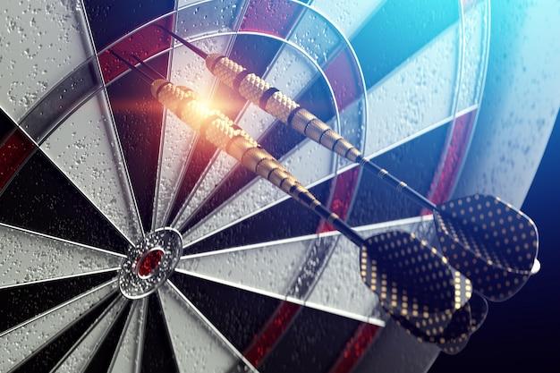 3d-weergave van darts vast in een doelwit