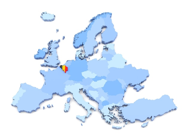 3d-weergave van de kaart van europa, belgië met vlag