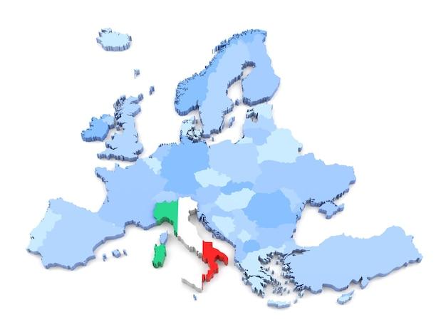 3d-weergave van de kaart van europa, italië met vlag