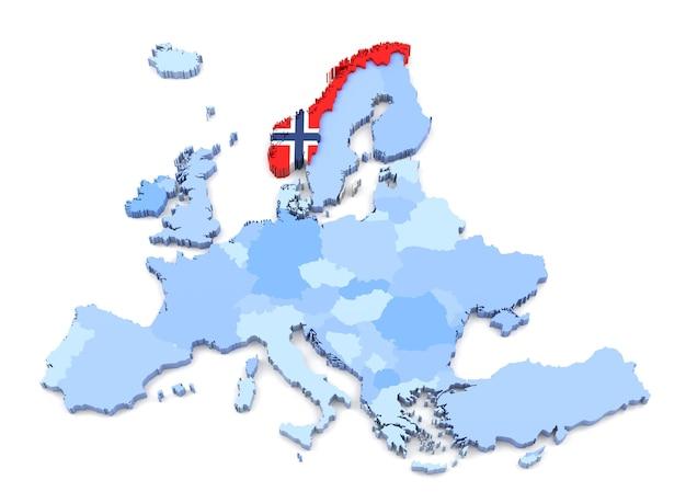 3d-weergave van de kaart van europa, noorwegen met vlag