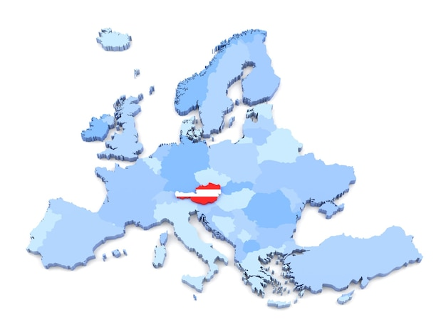 3d-weergave van de kaart van europa, oostenrijk met vlag