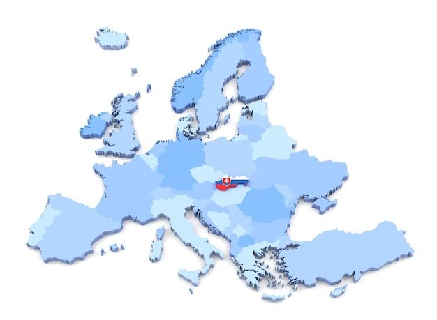 3d-weergave van de kaart van europa, slowakije met vlag