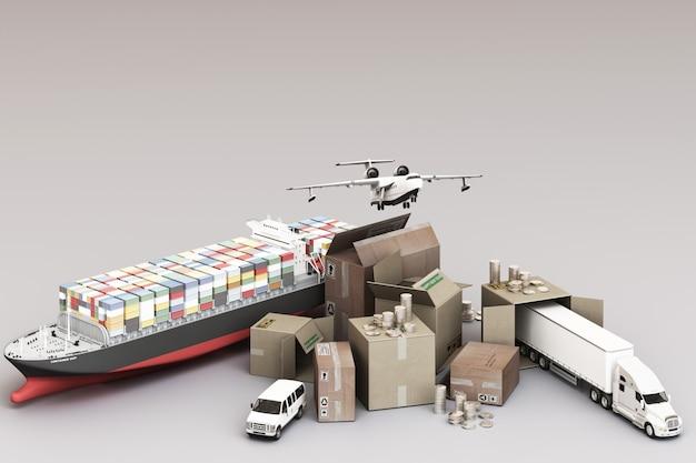 3d-weergave van de kratdoos omringd door kartonnen dozen, een vrachtcontainerschip, een vliegplan, een auto, een busje en een vrachtwagen