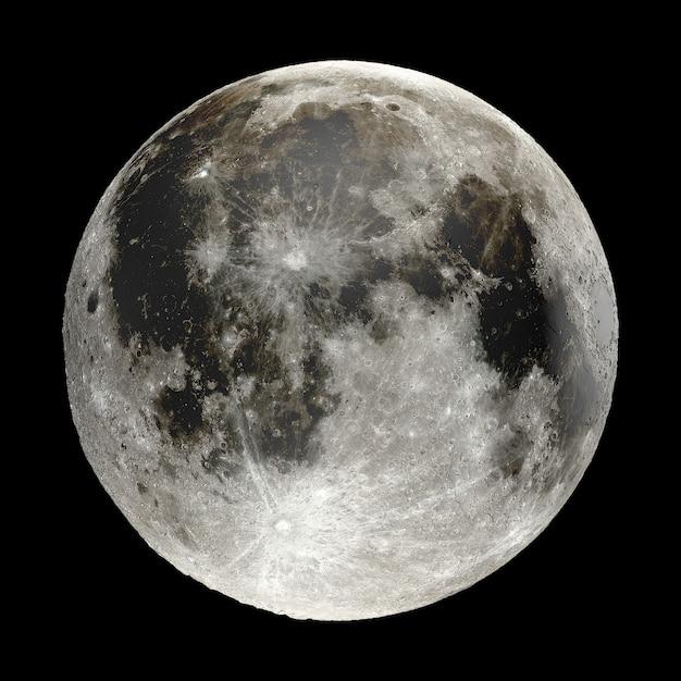 3d-weergave van de maan geïsoleerd op zwarte achtergrond. elementen van deze afbeelding zijn geleverd door nasa