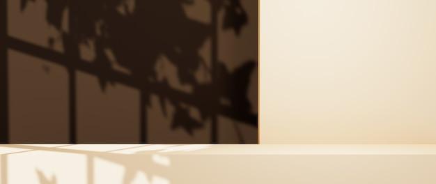 3d-weergave van de scène voor het plaatsen van producten heeft een achtergrond met een raamschaduw. voor showproduct. lege scène showcase mockup.
