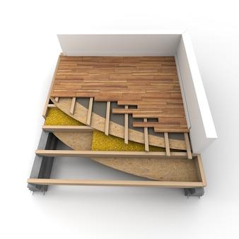 3d-weergave van details van constructievloeren