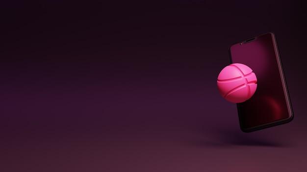 3d-weergave van dribbel-logo met smartphone