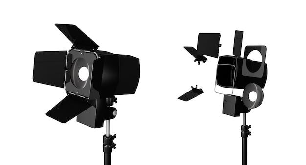 3d-weergave van drie lichten met reflectoren met het hoofd naar beneden en naar boven gedraaid