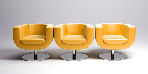 3d-weergave van drie moderne gele lederen fauteuils in een rij