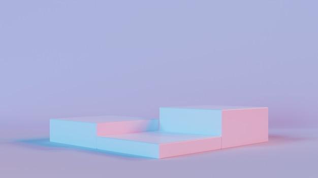 3d-weergave van drie vierkant podium