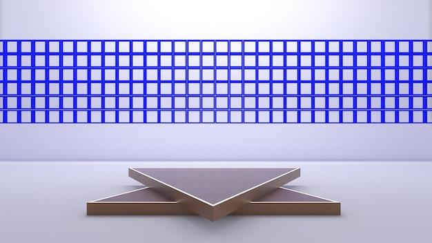 3d-weergave van driehoekspodium voor showproduct