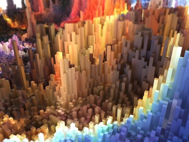 3d-weergave van een abstract landschap van extruderende kubussen