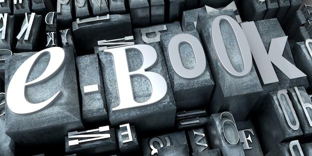 3d-weergave van een achtergrond van gedrukte briefgevallen met het woord e-book close-up