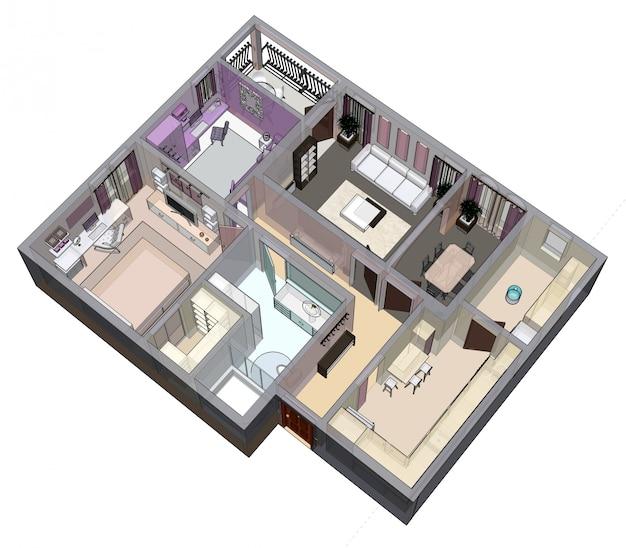 3d-weergave van een appartement