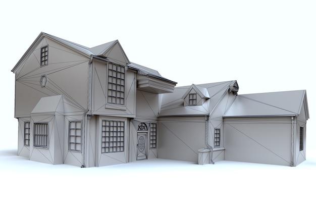 3d-weergave van een architectuurmodel in het wit