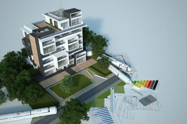 3d-weergave van een architectuurmodel voor duurzaam bouwen met blauwdrukken