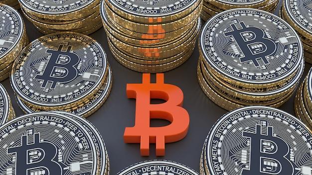 3d-weergave van een bitcoin-logo omgeven door veel metalen bitcoins op zwarte achtergrond