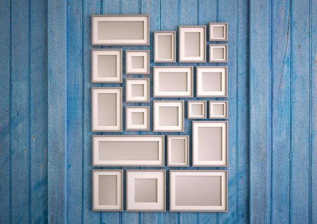 3d-weergave van een blauwe houten muur met een opstelling van mock-up fotolijsten