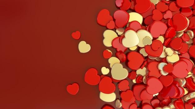 3d-weergave van een bos van gouden en rode harten op donkerrode achtergrond