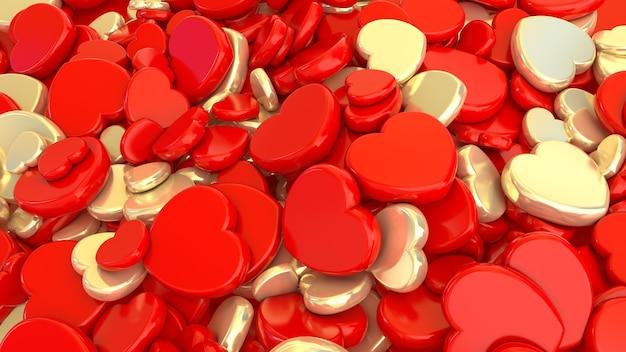 3d-weergave van een bos van gouden en rode harten