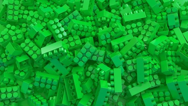 3d-weergave van een bos van groene speelgoed plastic bakstenen voor kinderen