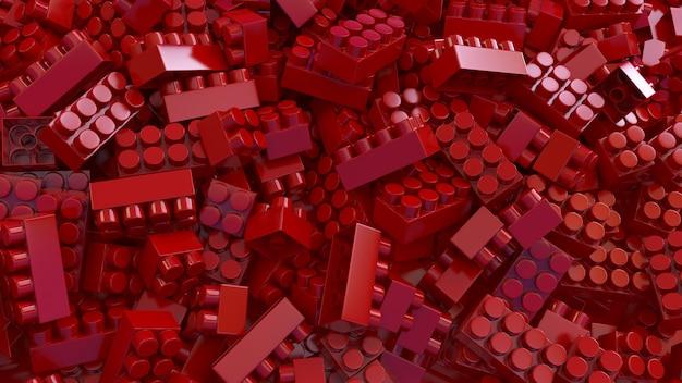 3d-weergave van een bos van rode speelgoed plastic bakstenen voor kinderen