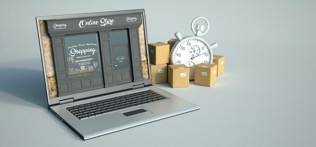 3d-weergave van een computer met een traditionele winkel op het scherm en een transportachtergrond