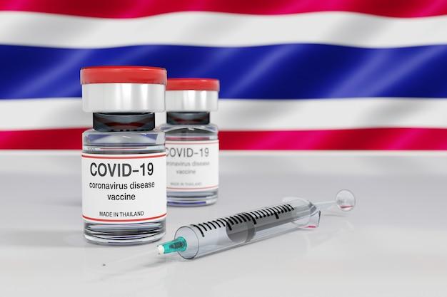 3d-weergave van een concept van coronavirusvaccin gemaakt in thailand met vaccinflesje en spuit met thaise vlagachtergrond.