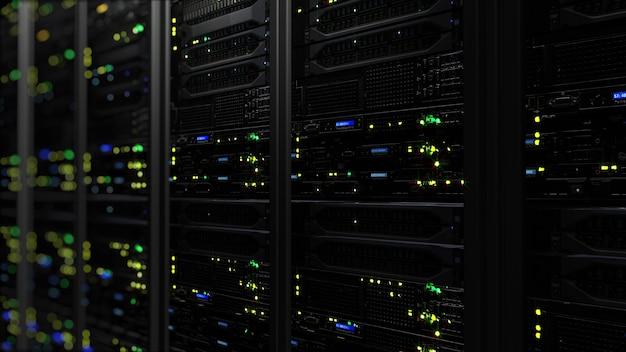 3d-weergave van een donker modern datacenter in de serverruimte in het opslagcentrum