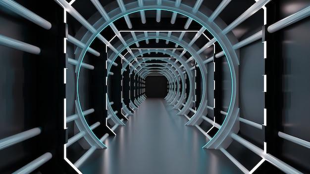 3d-weergave van een donkere tunnel