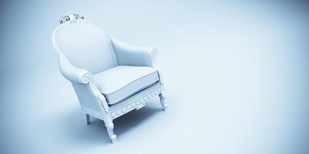 3d-weergave van een fauteuil in retro-stijl in lichtblauw en wit