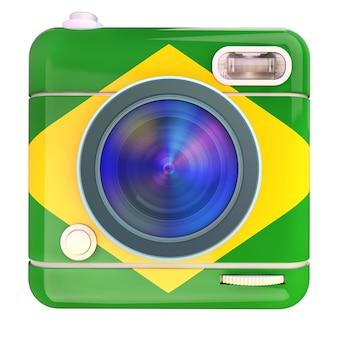 3d-weergave van een fotocamera-pictogram met een vlag van brazilië kleuren