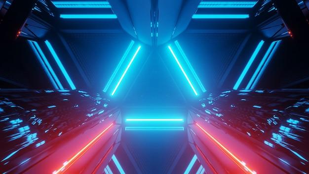 3d-weergave van een futuristische achtergrond met geometrische vormen en kleurrijke neonlichten