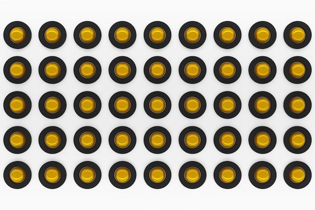3d-weergave van een gele en zwarte gyroscopen op een witte achtergrond.