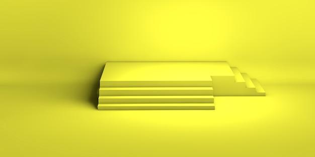 3d-weergave van een gele geometrische achtergrond voor commerciële reclame