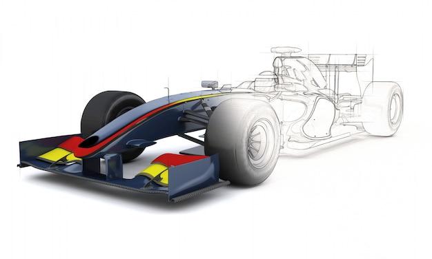 3d-weergave van een generieke raceauto met de helft in schetsvoorbeeld