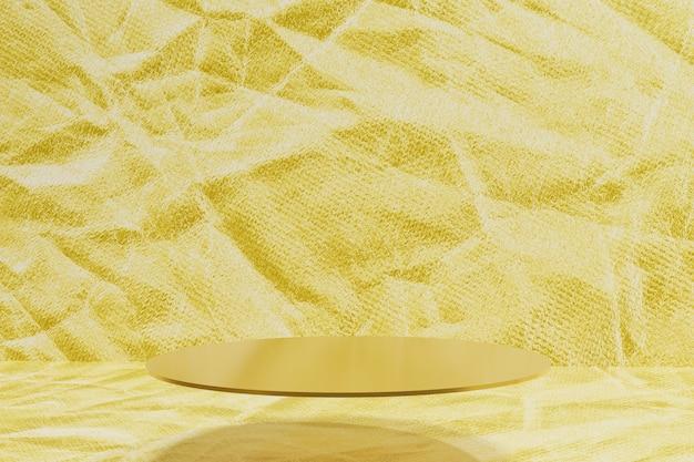 3d-weergave van een gouden podium met een achtergrond in goudfolie voor uw project