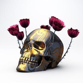 3d-weergave van een gouden schedel met rozen die eruit groeien op een wit