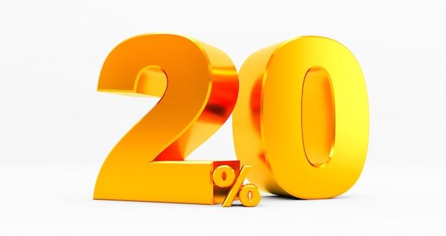 3d-weergave van een gouden twintig procent op een witte achtergrond. verkoop van speciale aanbiedingen. korting bij de prijs is 20%.