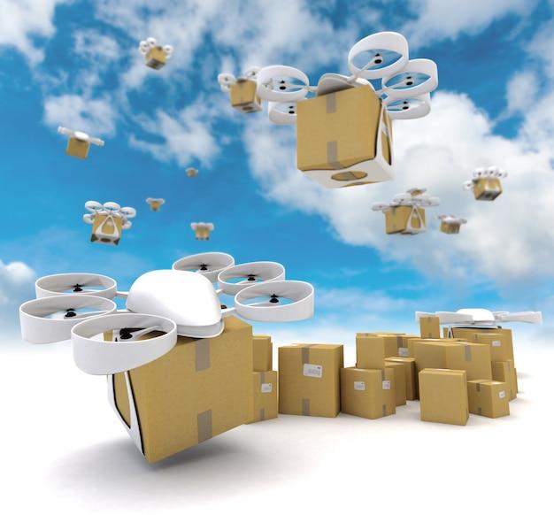 3d-weergave van een groep vliegende drones die pakketten vervoeren