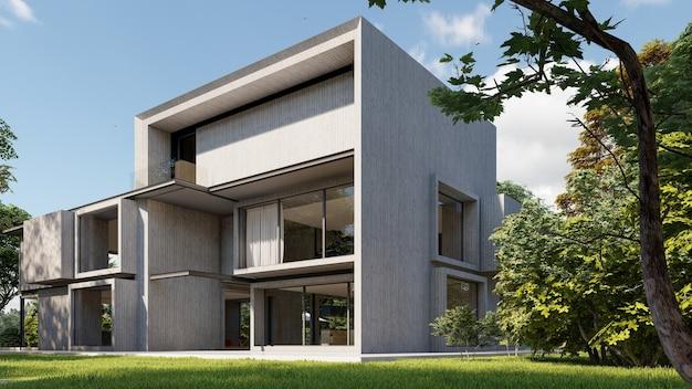 3d-weergave van een groot modern betonnen huis
