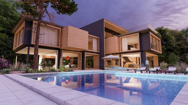 3d-weergave van een groot modern eigentijds huis in hout en beton in de vroege avond