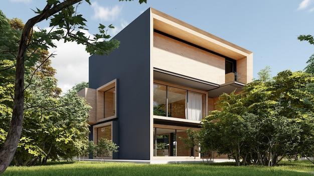 3d-weergave van een groot modern eigentijds huis in hout en beton