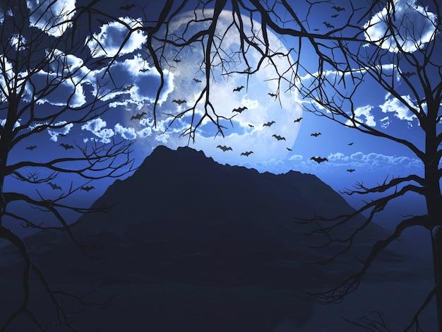 3d-weergave van een halloween-landschap met vliegende vleermuizen