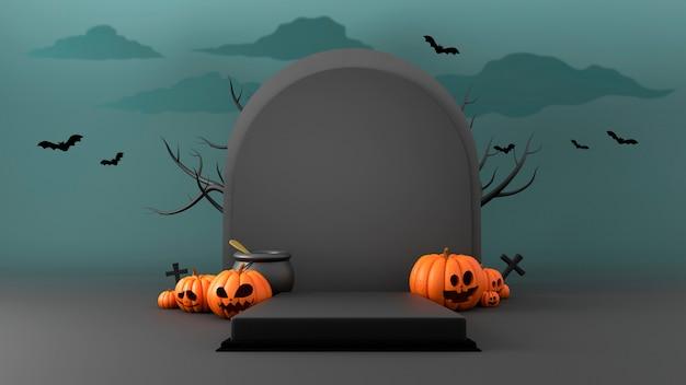3d-weergave van een halloween-podium