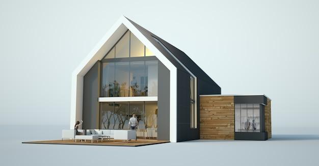 3d-weergave van een helder modern huisarchitectuurmodel