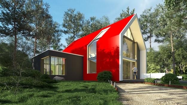 3d-weergave van een helder rood modern huis in een natuurlijk landschap
